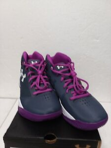 Under Armour Jet 2017 Girls Youth GreyPurple Athletic Basketball Shoes Sz 6.5Y