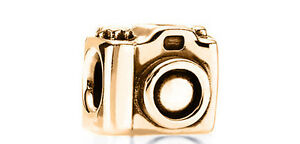 9ct SOLID GOLD Photography CAMERA Vacation Fits EURO BRACELETS Charm Bead