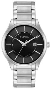 Bulova Men's Classic Quartz Black Dial Silver-Tone Bracelet 40mm Watch 96B267