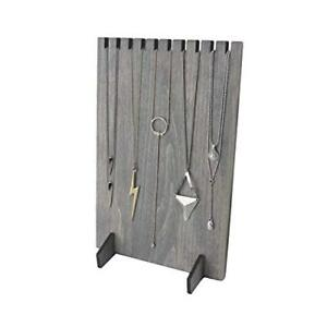 Rustic Gray Wood Necklace Holder Jewelry Display Stand Retail Boutique Craft