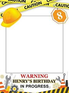 Customize Construction Warning Zone Party Happy Birthday Photo Booth Prop - Home