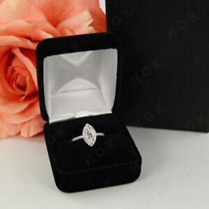 1.45 Ct Marquise Shale Halo Engagement Diamond Ring 10k White Gold For Women's