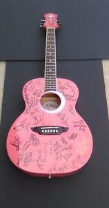Autographed Adult Film Star's Pink Glitter Acoustic Guitar + Proof Pics!!