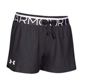Under Armour UA Girl's 4-Pack Play-Up Black 2.5-inch Youth SM Gym Shorts