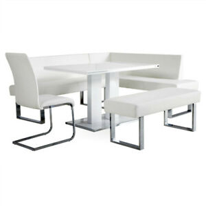 5Piece Kitchen Breakfast Dining Table and Corner Bench Set Modern Furniture Unit