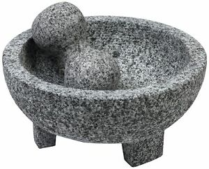 Vintage Granite Stone Mortar And Pestle Molcajete Mexican Salsa Bowl Large 6