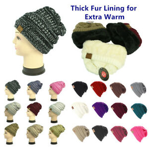 Lot Plain & 2 Tones Skull Knitted Winter Slouchy Baggy Beanie Hat wFur Lining