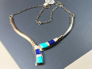 Navajo Signed M. Spencer Sterling Silver 18 Necklace Turquoise MOP Lapis $259.00