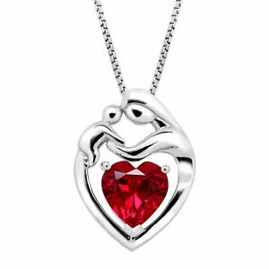 2 15 ct Created Ruby Mother & Child Pendant in Sterling Silver