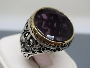 Turkish Handmade Jewelry 925 Sterling Silver Amethyst Stone Men's Ring Sz 9