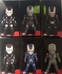 IRON MAN MINI ACTION FIGURES 6 FIGURES Arc Reactor chest lights up with stand