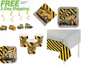 Construction Zone Birthday Baby Shower Party Supplies for 16 Guests with Hanging