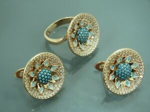 Turkish Handmade Jewelry 925 Sterling Silver Turquoise Ladies' Earring Set