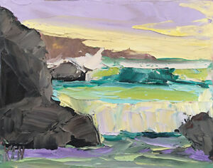 Pacific Rocks One Original Expression Seascape Oil Painting 8x10 091418 KEN $27.95