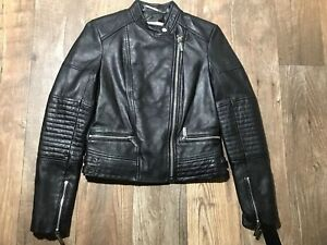 NWT NEW MICHAEL KORS WOMEN'S GENUINE LEATHER MOTO JACKET BLACK RACER Sz small