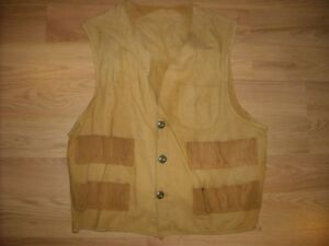 VTG 50S 60S MENS M CANVAS HUNTING SHOOTING SHOTGUN BULLET VEST JACKET $15.00