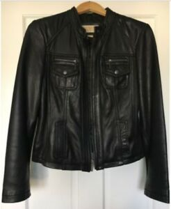 Michael Kors Black Leather Moto Jacket Size M