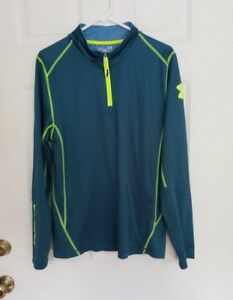 Under Armour Cold Gear Fitted Pull Over Half Zip - GreenBright Yellow - Size L