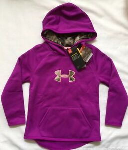 Under Armour Youth Girls XS Purple Camo Hoodie Loose Fit STORM