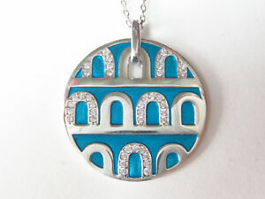 TURKISH 925 STERLING SILVER BLUE ENAMEL WHITE TOPAZ NECKLACE