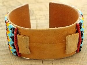 Beautiful Vintage NOS 16mm Unused Leather and Beaded Cuff Watch Band Bracelet
