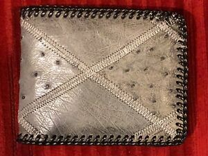 Western Men's Bifold OstrichCowhide Leather Laced Wallet