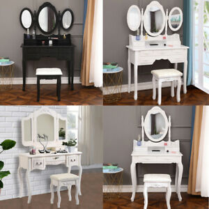 Vanity Jewelry Makeup Dressing Table Stool Set w 3 4 5 7 Drawers Wood Desk