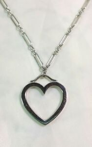 Tiffany 18K White Gold Heart Pendant Necklace 18