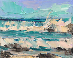 Pacific Kool One Original Expression Seascape Oil Painting 8x10 101418 KEN $27.95