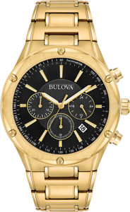 Bulova Men's Quartz Chronograph Black Dial Gold Tone Bracelet 43mm Watch 97B161