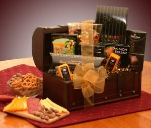 Gift Basket - Gourmet Gathering Gift Chest - Meat and Cheese - $7 FLAT Shipping