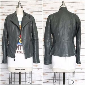 MICHAEL KORS Women's Moto Jacket Gray Leather Motorcycle Biker Full Zip Size XS