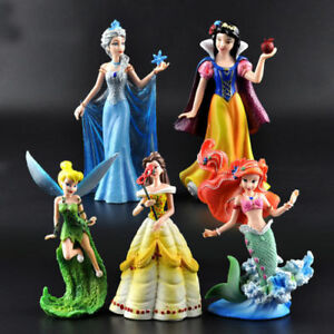 5pcs Big Disney Princess Belle Ariel Snow White Collection Action Figures Toy