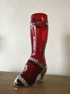 A Rare 1930's Ruby Red Lady's Leg Boot Cocktail Shaker
