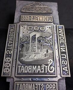Museum Quality Steamboat Box Playing Cards Original Antique Lead Printing Plate