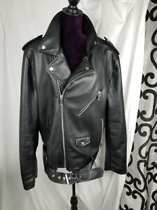 GUESS Men's Faux Leather Motorcycle Jacket Black XXL buckle zippers Biker Bike