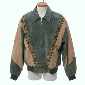 Scully Brown Green Leather Aztec Western Bomber Jacket Men's L