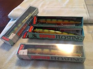 4- Vintage Rapala 18P Floating Balsa Original Finland Perch Lures NOS