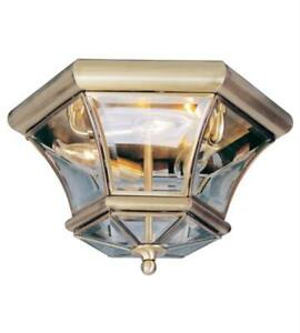 Semi Flush Mounts 3 Light With Clear Beveled Glass Antique Brass 13in 180 Watts