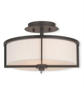Flush Mounts 2 Light With Hand Crafted White Fabric Hardback Shade Bronze 13 in