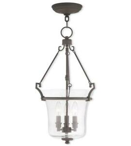 Pendant Porch 3 Light With Hand Crafted Seeded Glass Bronze size 13in 180 Watts