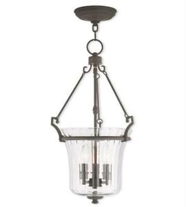 Pendants Porch 3 Light With Hand Crafted Fluted Clear Glass Bronze Finish 13 in