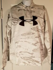NEW Under Armour UA Women S Cold Gear Hoodie Loose white snow camo 1265757 956