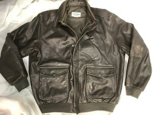 LL BEAN Men's Leather Bomber Jacket XL Brown Vintage Thinsulate