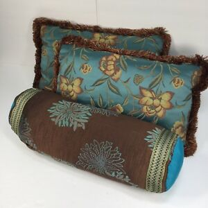 Set 3 Rectangle Bolster Pillows Custom Made Designer Round Decorative Brown Gold