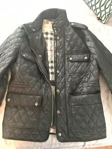 BURBERRY BRIT Men's Black Russell Quilted Barn Jacket Sz S $695 NEW