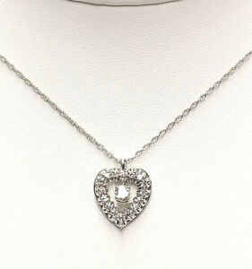 Diamond Heart Necklace in 14KT White Gold SUPERB CLARITY VS1