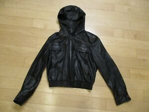 Vtg Wilson Black Leather Hoodie Jacket Women's 14