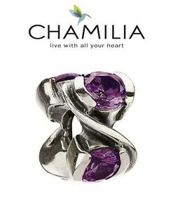 Genuine CHAMILIA 925 sterling silver sparkly PURPLE FOREVER charm bracelet bead