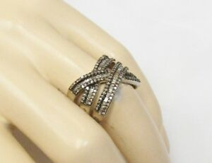 1 Carat Chocolate Brown Baguette Diamond Criss Cross Band Ring 925 Silver Sz 6